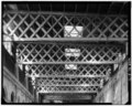 Corridor and wheel bay, roof truss detail, facing north - Chicago, Burlington and Quincy Railroad, Roundhouse and Shops, Broadway and Spring Streets, Aurora, Kane County, IL HAER ILL,45-AUR,1-71.tif