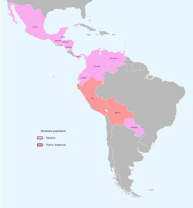 Bolivia and Peru have majority-Native American populations, including mestizos. Countries with dominant Mestizo and Native American population.png