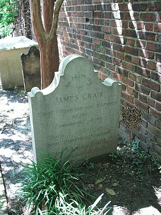 James Craik - Dr. Craik's grave marker, in the Old Presbyterian Meeting House cemetery