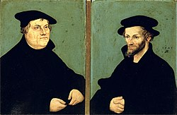Лука Кранах Старији: Portraits of Martin Luther and Philipp Melanchthon