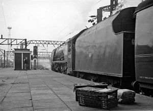 LMS Coronation Class - The lack of a handrail on the tender shows that this is an ex-streamlined Type A. The locomotive is No. 46225 Duchess of Gloucester photographed in 1961, so the table below shows that the tender is No. 9799.