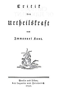 <i>Critique of Judgment</i> 1790 book by Immanuel Kant