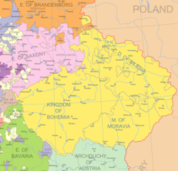 Map of political borders in Central Europe in the early 1700s