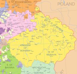 Kart over politiske grenser i Sentral-Europa tidlig på 1700-tallet