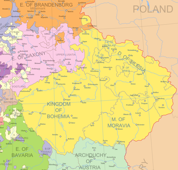 Lands of the Bohemian Crown until 1742 when most of Silesia was ceded to Prussia Crown of Bohemia 1648.png