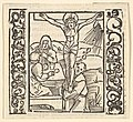 Crucifixion by a table, illustration from Speculum Passionis, 1507 MET DP826737.jpg