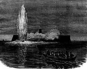 Attack on USS New Ironsides - USS New Ironsides when the torpedo detonated.