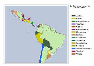 Cumbia - Image: Cumbia across Latin America