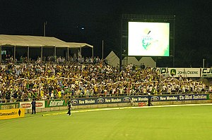 A long beer snake at a day-night match at the WACA on 15 January 2008 Cupsnake.jpg