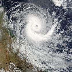 Tropical Cyclone Larry, considered the worst tropical cyclone to hit Queensland, off the Australian coast on March 18