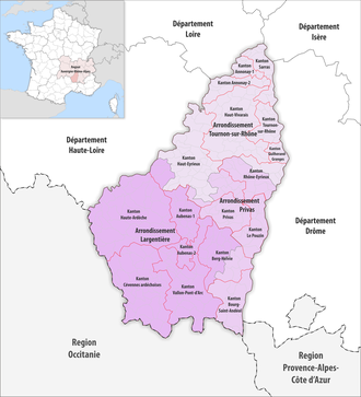 Arrondissements of the Ardèche department - The arrondissements and cantons of Ardèche since 2017
