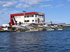 Air Tindi - View of three Air Tindi, Twin Otter airplanes, Yellowknife