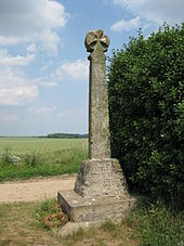 "A stone post, topped with a cross, stands next to a bush in a field. An inscription on its base reads, ""Battle of Towton Palm Sunday 1461""."