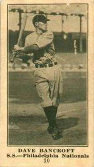Dave Bancroft - Image: Dave Bancroft (1916 baseball card)
