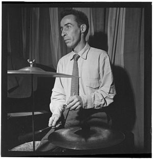 Dave Tough - Dave Tough in Eddie Condon's basement, c. 1947 Photography by William P. Gottlieb