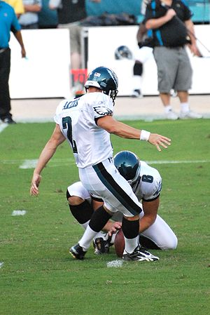 David Akers - Akers attempting a field goal in August 2009.