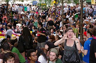Occupy Wall Street - Protesters engaging in the 'human microphone'