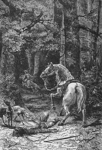 William II of England - Death of William Rufus, lithograph by Alphonse de Neuville, 1895