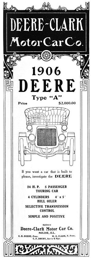Deere (automobile) - Deere-Clark Motor Car Company of Moline, Illinois - 1906