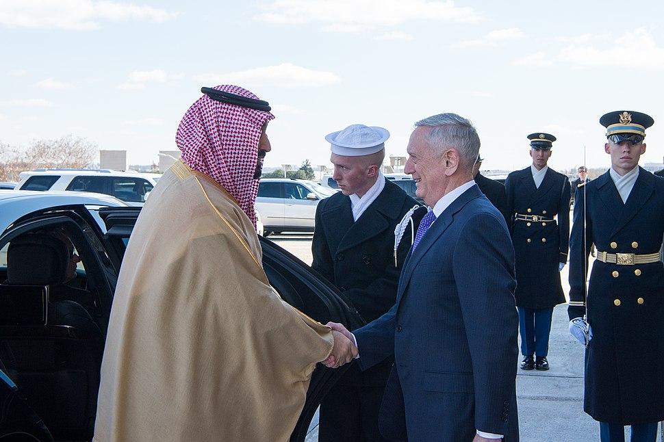 Defense Secretary James Mattis & Deputy Crown Price of Saudi Arabia Mohammad bin Salman Al Saud in the Pentagon in Washington, D.C., March 16, 2017 (33323866082)