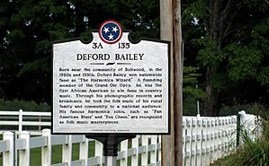 DeFord Bailey - Tennessee Historical Commission marker near Bailey's birthplace in Smith County