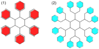 Chemical diagrams: one simpler and red, the other more complex and light blue