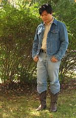 fbcda16b64bf A Texas tuxedo comprising a denim jacket, boots and jeans.