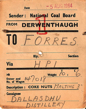 Derwenthaugh Coke Works - Wagon label from 1964 for a delivery of coke nuts to Dallas Dhu Distillery in Scotland.