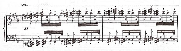 Extract from Les diablotins Op. 63 no. 45 featuring tone clusters Play (help*info) Diablotins.jpg