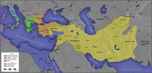 The Seleucid Empire in the time of Seleucus (in yellow), prior to the Seleucid–Mauryan war