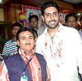Dilip Joshi, Abhishek Bachchan 'Bol Bachchan' team on the sets of Taarak Mehta Ka Ooltah Chashmah 12.jpg