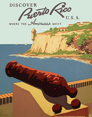 Discover Puerto Rico U.S.A.%2C WPA poster - cannon