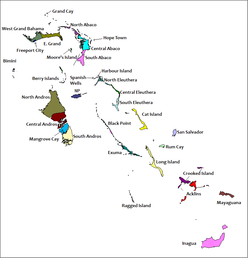 Districts of the Bahamas (Labeled)
