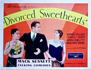 """Daphne Pollard - Daphne Pollard (right) in a character role for """"Divorced Sweethearts"""" made by Sennett in 1930"""