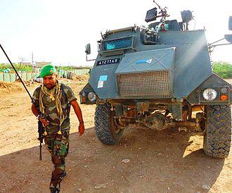 Beledweyne - Djiboutian Soldier patrol the base in Beledweyne, Somalia.