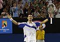 Djokovic celebrates AO 2011.jpg