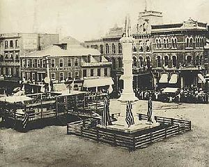 Soldiers and Sailors Monument (Lancaster, Pennsylvania) - A photo of the Soldiers and Sailors Monument in Penn Square taken on the day of its dedication on July 4, 1874.