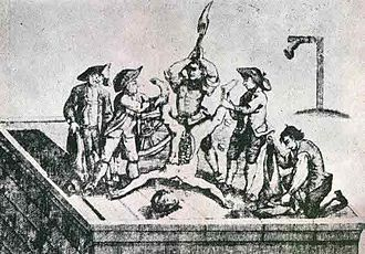 High treason in the United Kingdom - To be hanged, drawn and quartered was from 1351 a penalty in England for common men convicted of high treason.