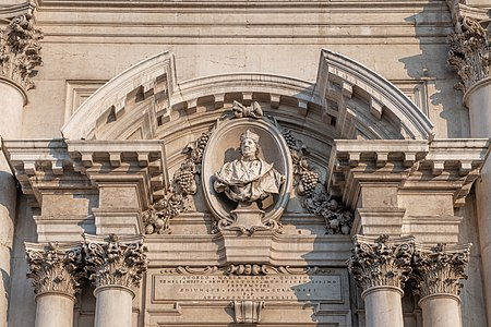 Detail of the Entrance to the new Cathedral in Brescia - Bust of bishop Quirini by Antonio Calegari.