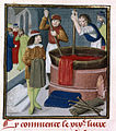 Dyers soaking red cloth in a heated barrel - Des Proprietez des Choses (Volume II) (1482), f.269 - BL Royal MS 15 E III.jpg
