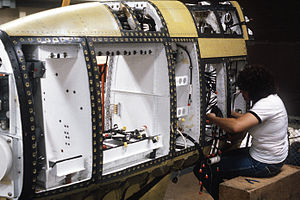 AN/ALQ-99 - Tail fin housing assembly for the AN/ALQ-99 equipment, seen during an EF-111A conversion