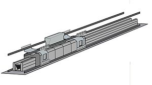 A computer generated model of the linear induction motor used in the EMALS.
