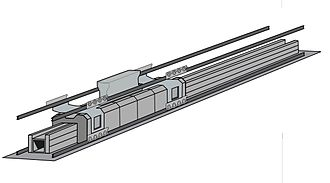 Aircraft catapult - A computer-generated model of the linear induction motor used in the EMALS.