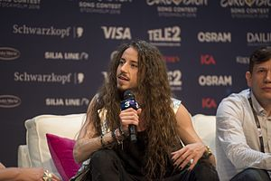 Poland in the Eurovision Song Contest 2016 - Michał Szpak during a press meet and greet