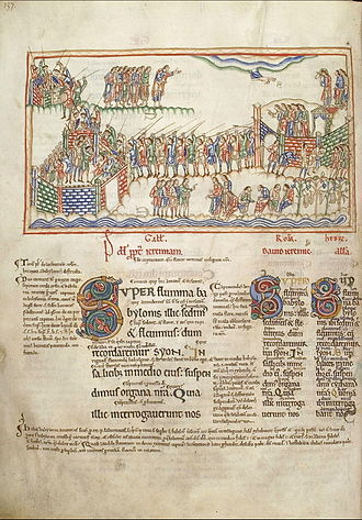"Eadwine Psalter - A typical page, with the start of Psalm 136/7 ""By the rivers of Babylon.."" (""Super flumina Babylonis..."")"