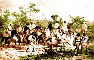 Battle of Gallabat - Image: Early nineteenth century warriors Colour