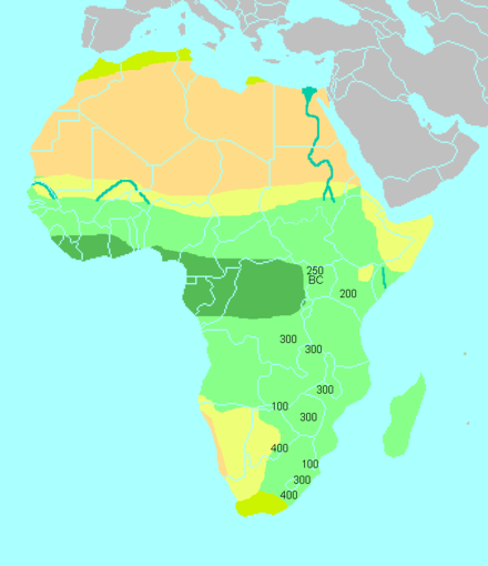 "Simplified climatic map of Africa: Sub-Saharan Africa consists of the Sahel and the Horn of Africa in the north (yellow), the tropical savannas (light green) and the tropical rainforests (dark green) of Equatorial Africa, and the arid Kalahari Basin (yellow) and the ""Mediterranean"" south coast (olive) of Southern Africa. The numbers shown correspond to the dates of all Iron Age artifacts associated with the Bantu expansion. East and southern africa early iron age.png"