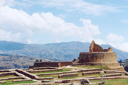 Ruins of Ingapirca, this site served as an outpost and provisioning of the Incan troops, but mainly it was a place of worship and veneration to the sun, the maximum Incan God, thus constituting a Coricancha, dedicated to the Inca ritual. Ecuador ingapirca inca ruins.jpg