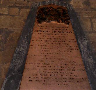 Edward Monckton - Memorial to Edward Monckton in Brewood parish church, Staffordshire