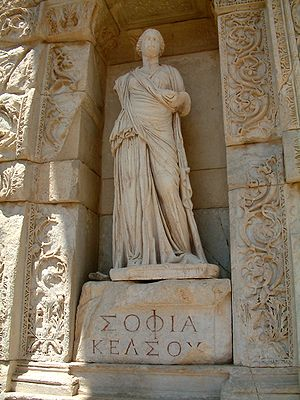 "Sophia (name) - Personification of wisdom (in Greek, ""Σοφία"" or ""Sophia"") at the Celsus Library in Ephesus, Turkey."